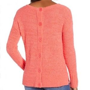 CASLON Knit Sweater with Back Button Detail